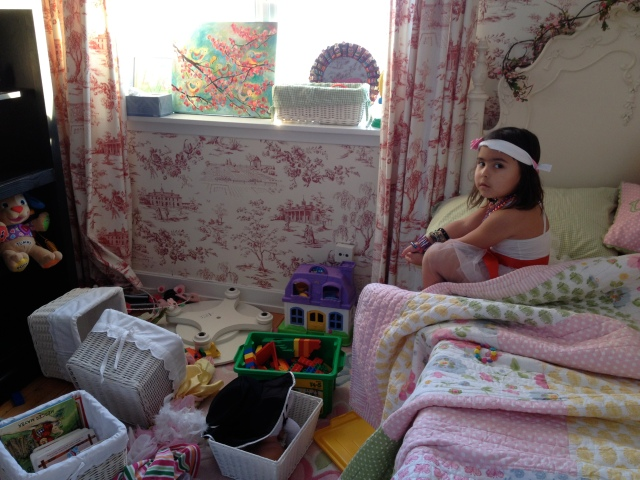 Ninja girl feeling a little overwhelmed too with her messy room.