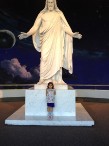 A visit to Temple Square in Salt Lake City. (Replica of Resurrected Jesus by Bertel Thorvalsen.)