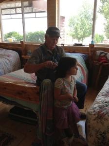 Simple things like Grandpa taking time to brush Maggie's hair.