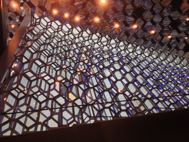 Inside the Harpa, looking up.